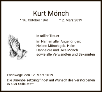 Traueranzeige für Kurt Mönch vom 12.03.2019 aus Eschwege