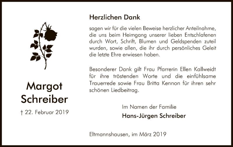 Traueranzeige für Margot Schreiber vom 15.03.2019 aus Eschwege