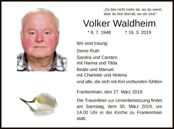 Traueranzeige für Volker Waldheim vom 27.03.2019 aus Eschwege
