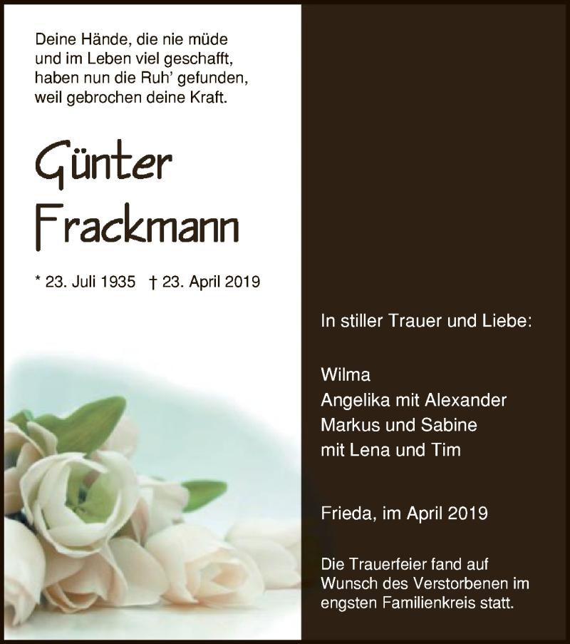 Traueranzeige für Günter Frackmann vom 30.04.2019 aus Eschwege