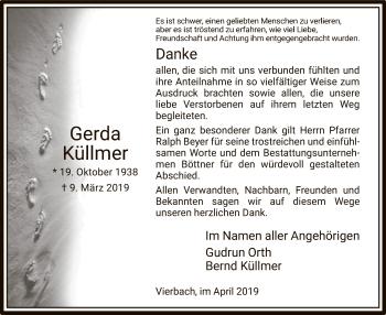 Traueranzeige für Gerda Küllmer vom 12.04.2019 aus Eschwege