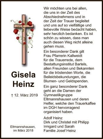 Traueranzeige für Gisela Heinz vom 30.03.2019 aus Eschwege