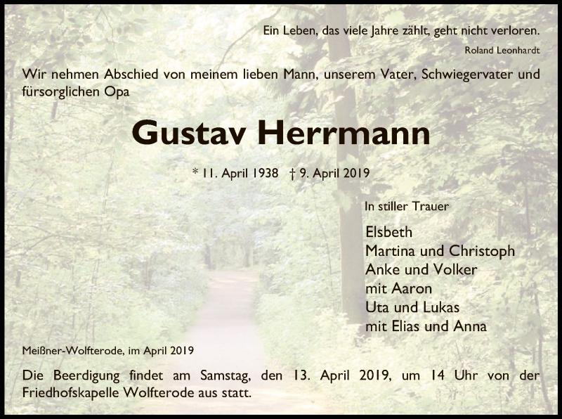 Traueranzeige für Gustav Herrmann vom 11.04.2019 aus Eschwege