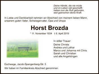 Traueranzeige für Horst Brozda vom 13.04.2019 aus Eschwege