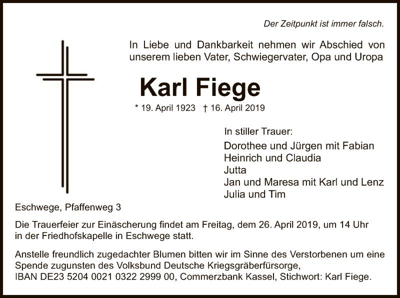 Traueranzeige für Karl Fiege vom 20.04.2019 aus Eschwege