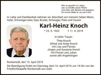 Traueranzeige für Karl-Heinz Knoch vom 13.04.2019 aus Eschwege