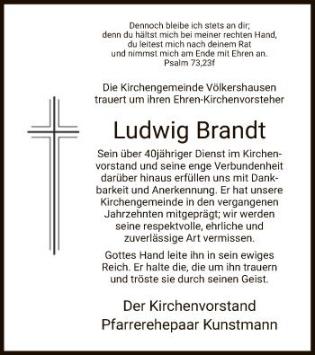 Traueranzeige für Ludwig Brandt vom 13.04.2019 aus Eschwege