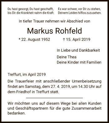 Traueranzeige für Markus Rohfeld vom 24.04.2019 aus Eschwege
