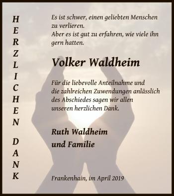Traueranzeige für Volker Waldheim vom 13.04.2019 aus Eschwege
