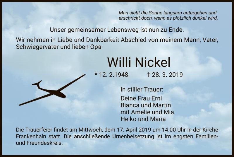 Traueranzeige für Willi Nickel vom 13.04.2019 aus Eschwege