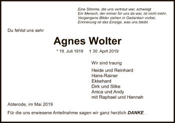 Traueranzeige für Agnes Wolter vom 15.05.2019 aus Eschwege