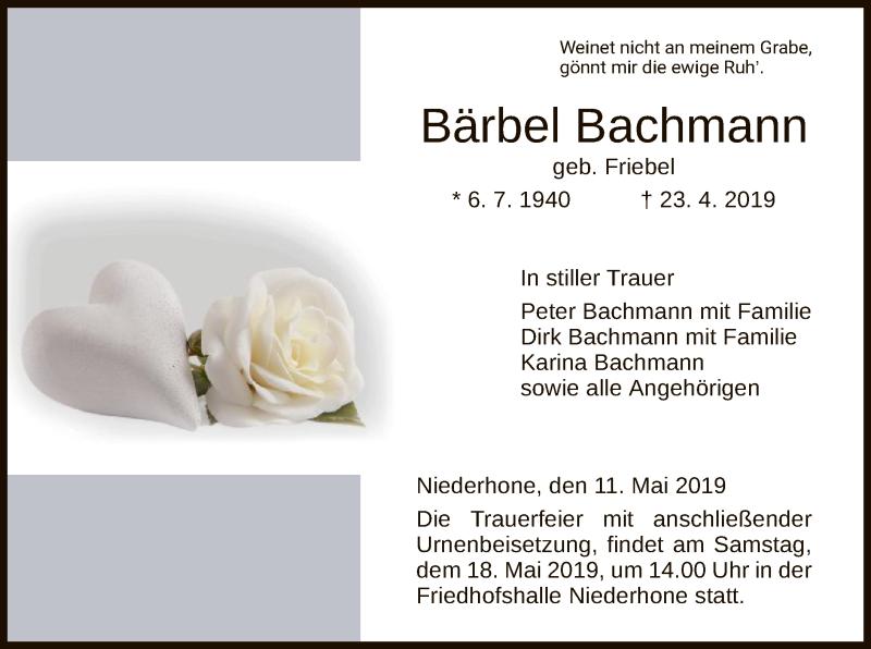 Traueranzeige für Bärbel Bachmann vom 11.05.2019 aus Eschwege