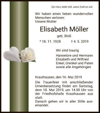 Traueranzeige für Elisabeth Möller vom 16.05.2019 aus Eschwege