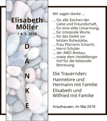 Traueranzeige für Elisabeth Möller vom 25.05.2019 aus Eschwege
