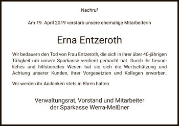 Traueranzeige für Erna Entzeroth vom 09.05.2019 aus Eschwege