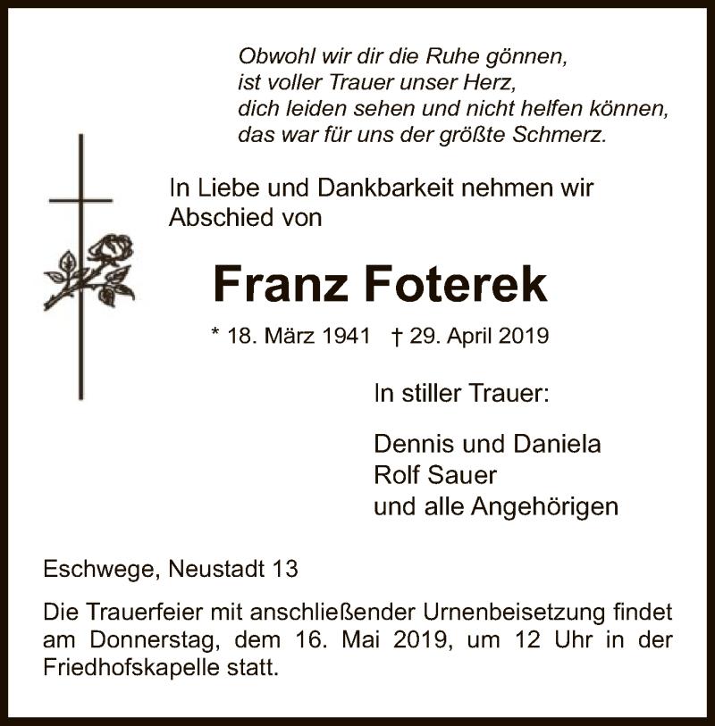 Traueranzeige für Franz Foterek vom 13.05.2019 aus Eschwege