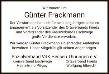 Traueranzeige für Günter Frackmann vom 15.05.2019 aus Eschwege