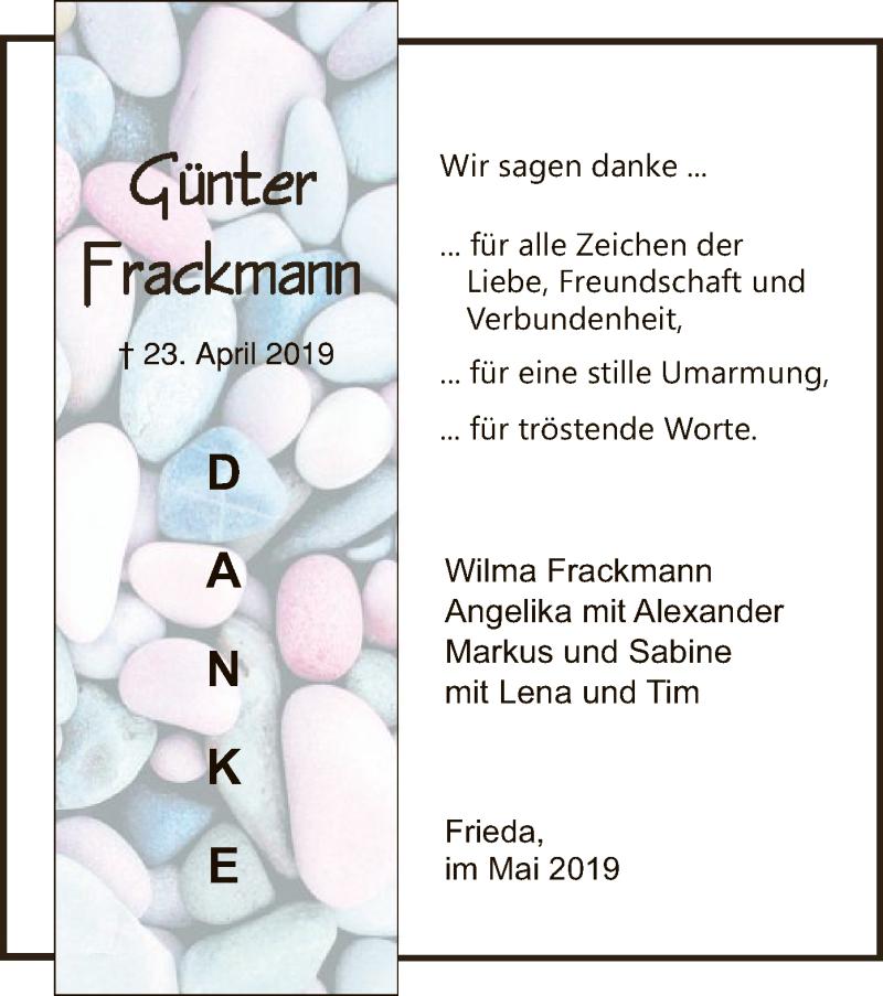 Traueranzeige für Günter Frackmann vom 23.05.2019 aus Eschwege