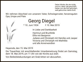 Traueranzeige für Georg Diegel vom 15.05.2019 aus Eschwege