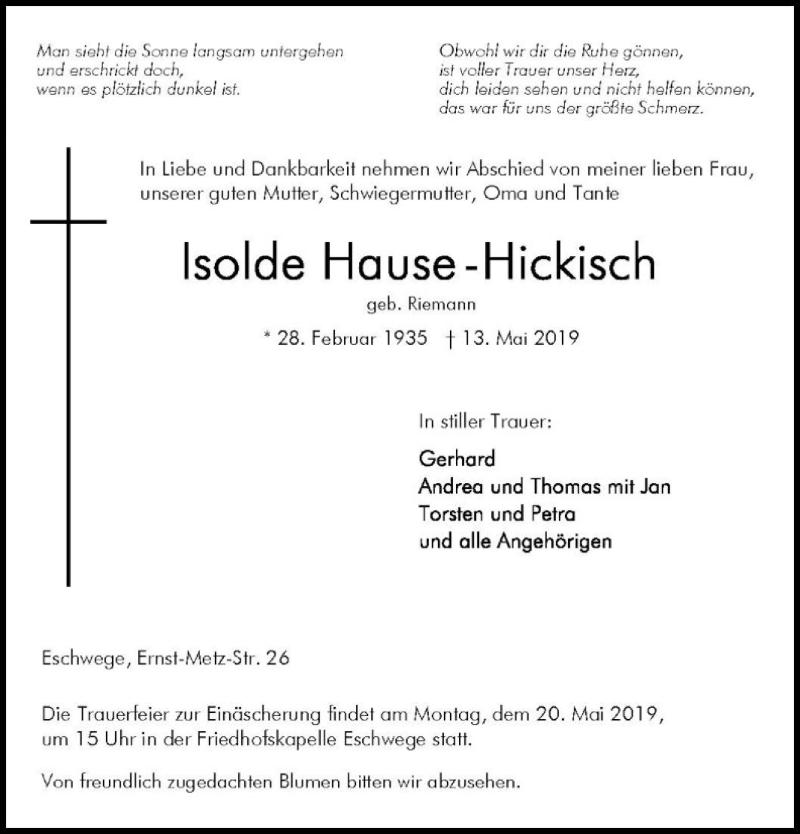 Traueranzeige für Isolde Hause-Hickisch vom 16.05.2019 aus Eschwege