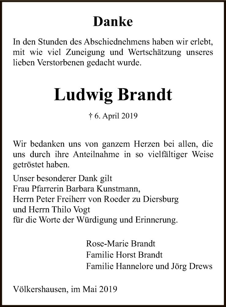 Traueranzeige für Ludwig Brandt vom 18.05.2019 aus Eschwege