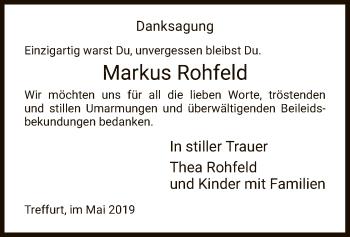 Traueranzeige für Markus Rohfeld vom 11.05.2019 aus Eschwege