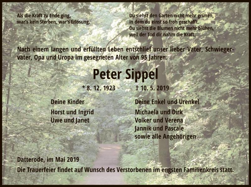 Traueranzeige für Peter Sippel vom 15.05.2019 aus Eschwege