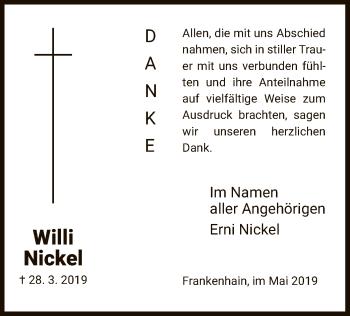 Traueranzeige für Willi Nickel vom 04.05.2019 aus Eschwege