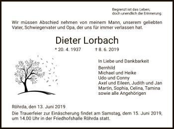 Traueranzeige für Dieter Lorbach vom 13.06.2019 aus Eschwege