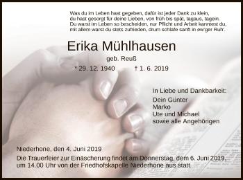 Traueranzeige für Erika Mühlhausen vom 04.06.2019 aus Eschwege
