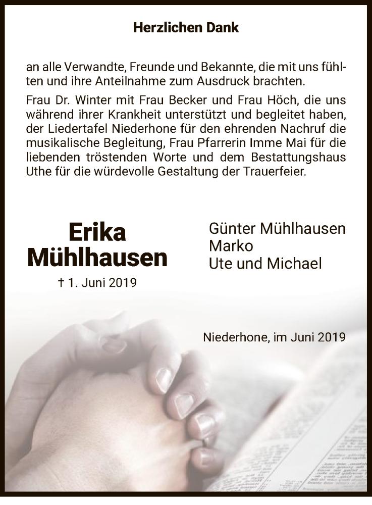 Traueranzeige für Erika Mühlhausen vom 15.06.2019 aus Eschwege