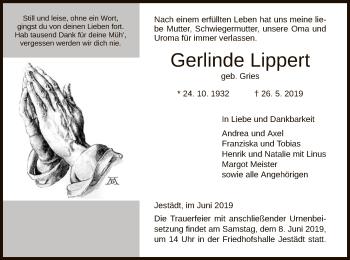 Traueranzeige für Gerlinde Lippert vom 04.06.2019 aus Eschwege