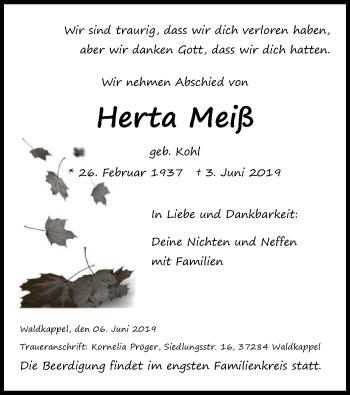 Traueranzeige für Herta Meiß vom 06.06.2019 aus Eschwege