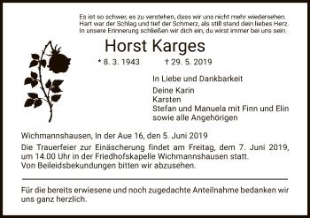 Traueranzeige für Horst Karges vom 05.06.2019 aus Eschwege