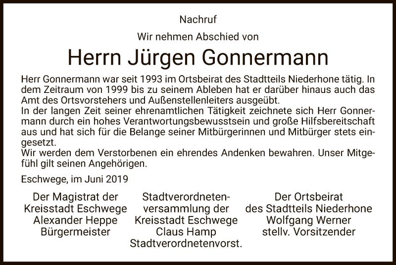Traueranzeige für Jürgen Gonnermann vom 08.06.2019 aus Eschwege