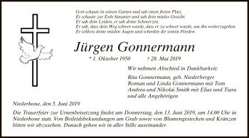 Traueranzeige für Jürgen Gonnermann vom 05.06.2019 aus Eschwege