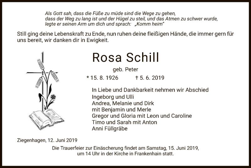 Traueranzeige für Rosa Schill vom 12.06.2019 aus Eschwege