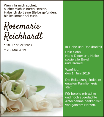 Traueranzeige für Rosemarie Reichhardt vom 01.06.2019 aus Eschwege