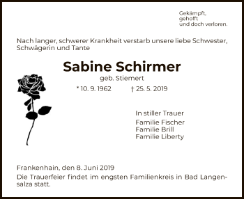 Traueranzeige für Sabine Schirmer vom 08.06.2019 aus Eschwege