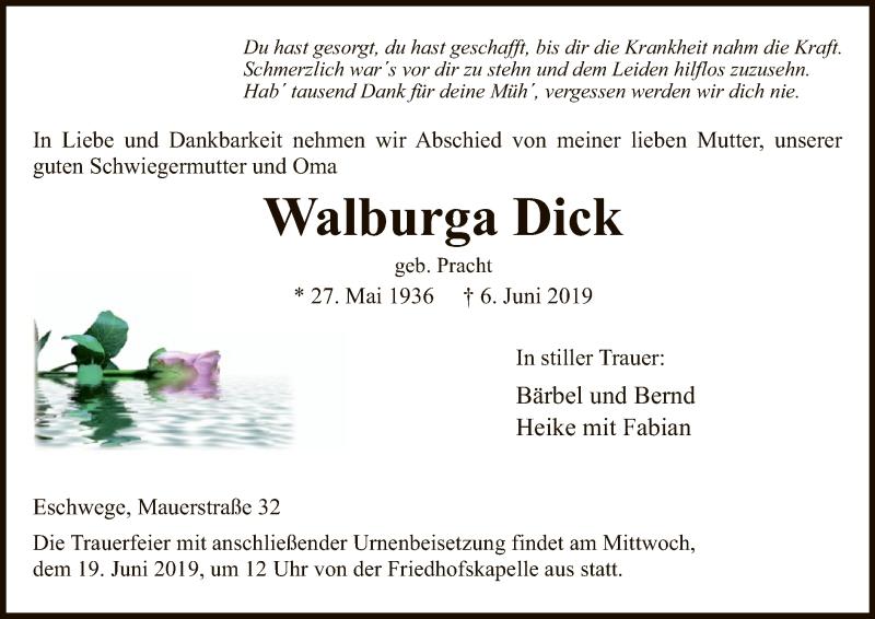 Traueranzeige für Walburga Dick vom 12.06.2019 aus Eschwege
