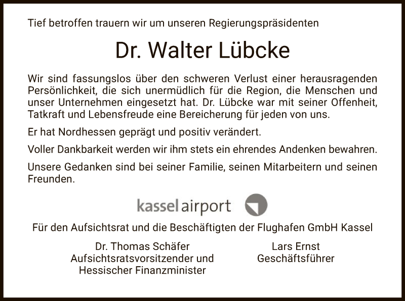 Traueranzeige für Walter Lübcke vom 13.06.2019 aus Eschwege