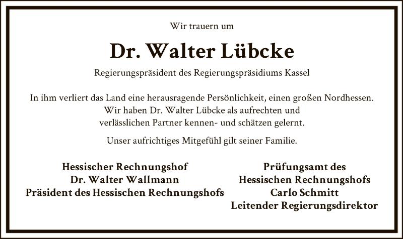 Traueranzeige für Walter Lübcke vom 08.06.2019 aus Eschwege