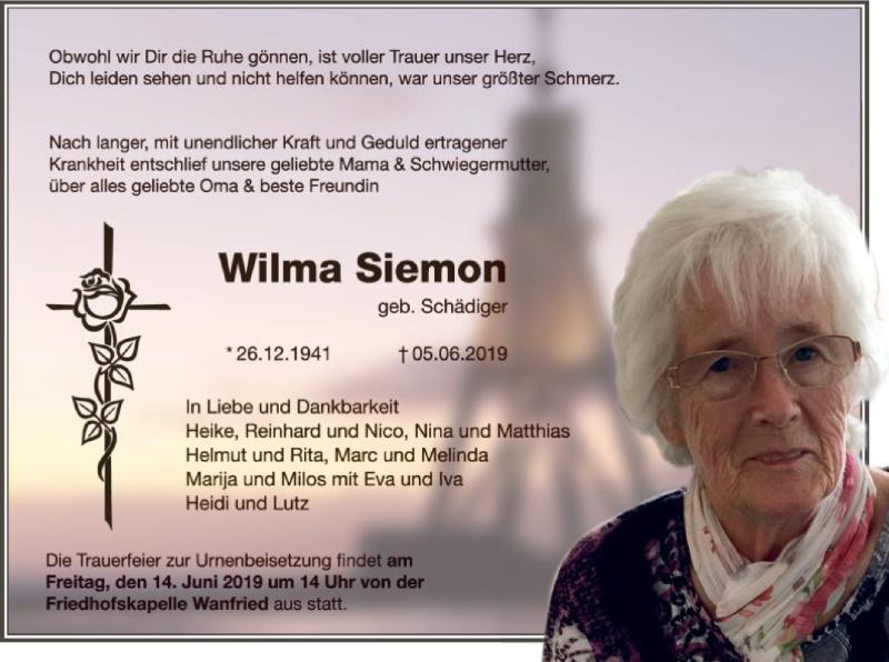 Traueranzeige für Wilma Siemon vom 12.06.2019 aus Eschwege