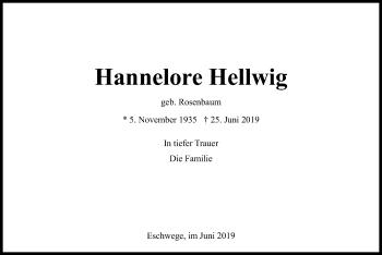 Traueranzeige von Hannelore Hellwig von Eschwege