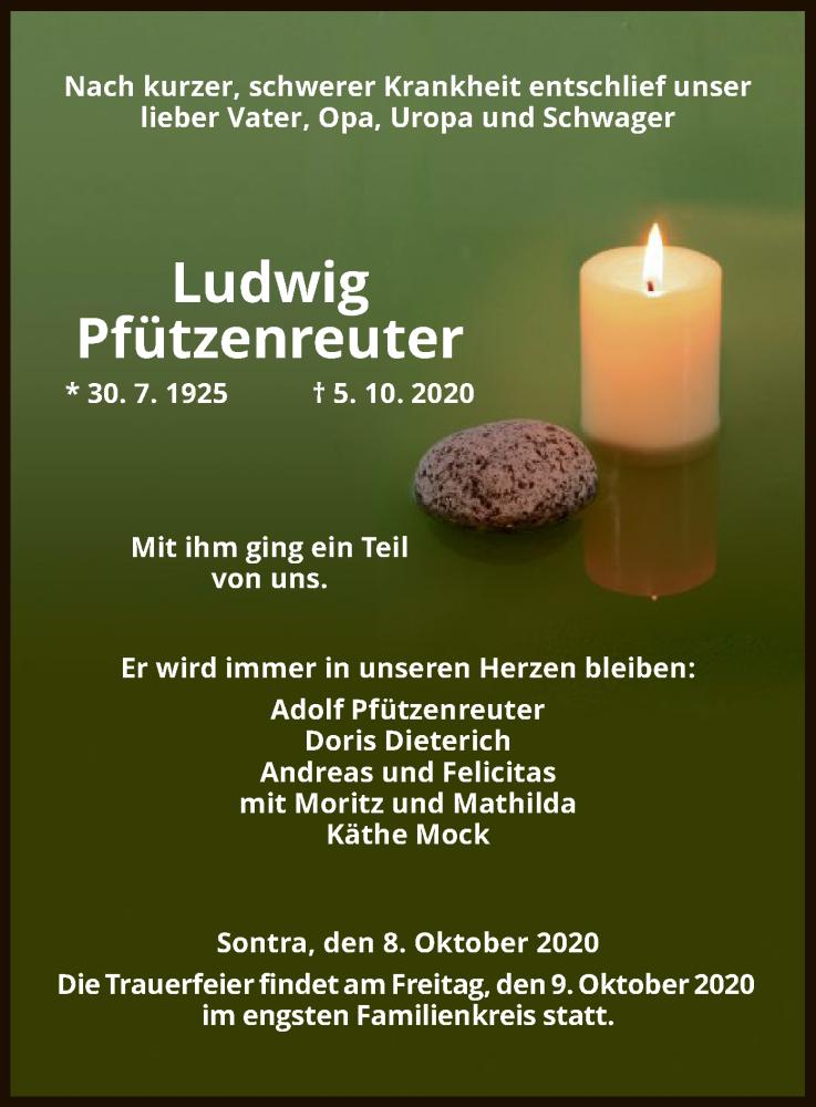 Traueranzeige für Ludwig Pfützenreuter vom 08.10.2020 aus WRS