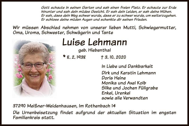 Traueranzeige für Luise Lehmann vom 10.10.2020 aus WRS