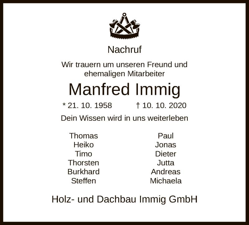 Traueranzeige für Manfred Immig vom 24.10.2020 aus HNA