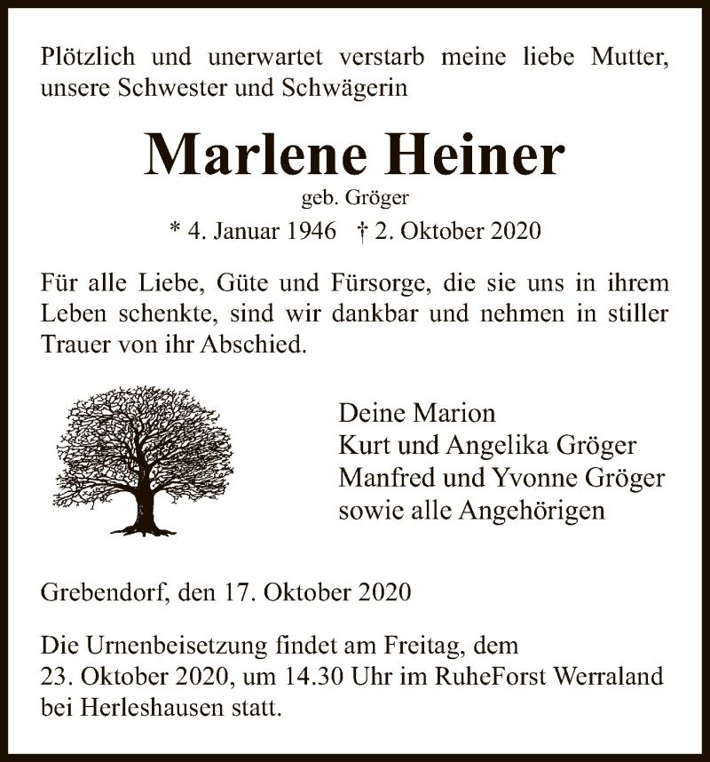 Traueranzeige für Marlene Heiner vom 17.10.2020 aus WRS