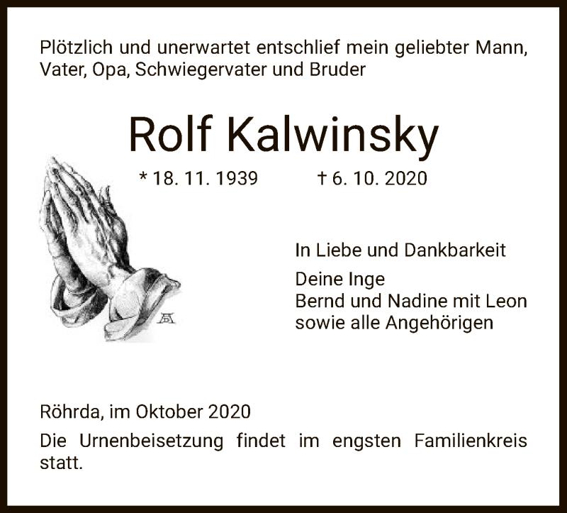 Traueranzeige für Rolf Kalwinsky vom 10.10.2020 aus WRS