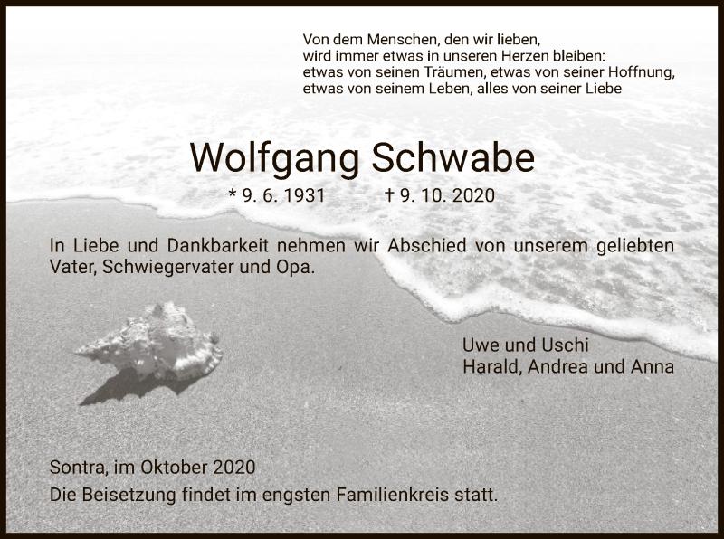 Traueranzeige für Wolfgang Schwabe vom 15.10.2020 aus WRS